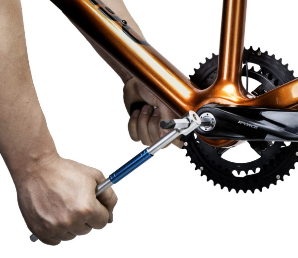 THH-10 10 mm hex wrench tightening a crank bolt, click to enlarge