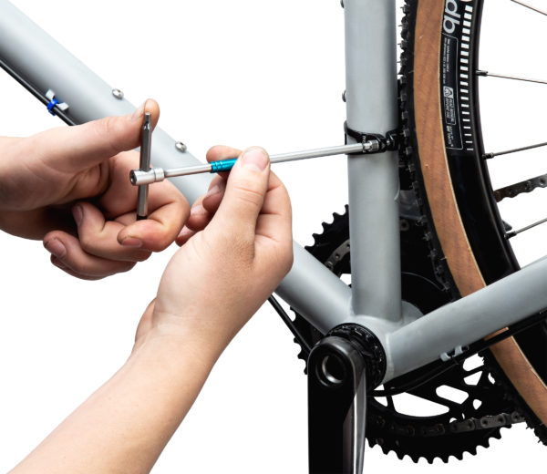 THH-4 4 mm hex wrench tightening a front derailleur mounting bolt, click to enlarge