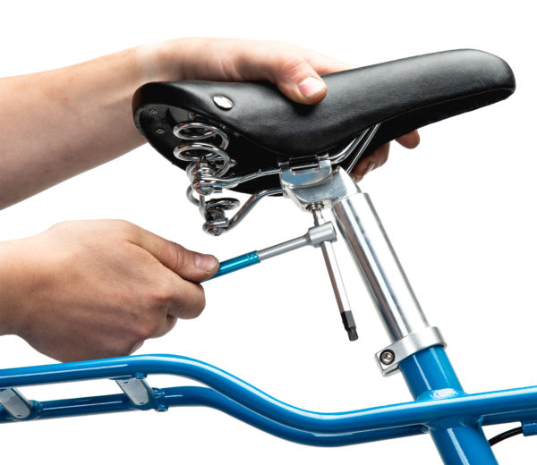 THH-6 6 mm hex wrench tightening a bolt on a bicycle saddle, click to enlarge