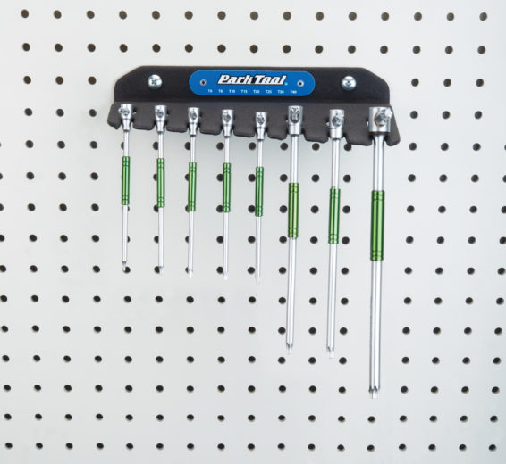 Park Tool THT-1 Sliding T-Handle Torx Compatible Wrench Set hanging on a pegboard, click to enlarge