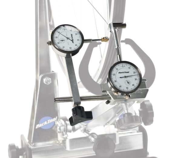 The Park Tool TS-2Di Dial Indicator Gauge Set on truing stand, click to enlarge
