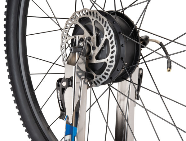 Close-up of Park Tool TS-2EXT.3 Truing Stand Extensions / Adaptors holding rear drive e-bike wheel, click to enlarge