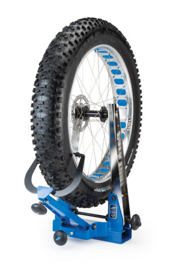 Park Tool TS-4.2 Professional Wheel Truing Stand holding a fat bike wheel, click to enlarge