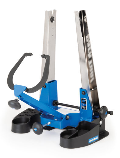 Park Tool TSB-4.2 Truing Stand Tilting Base holding the TS-4.2 Professional Wheel Truing Stand, click to enlarge