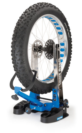 Fat tire in a Park Tool Truing Stand Tilting Base, click to enlarge
