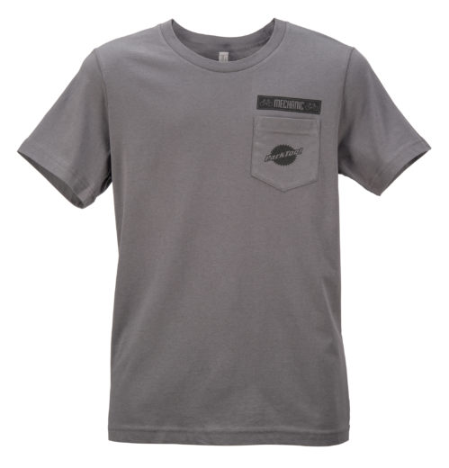 Gray Park Tool tshirt with logo chest pocket, click to enlarge