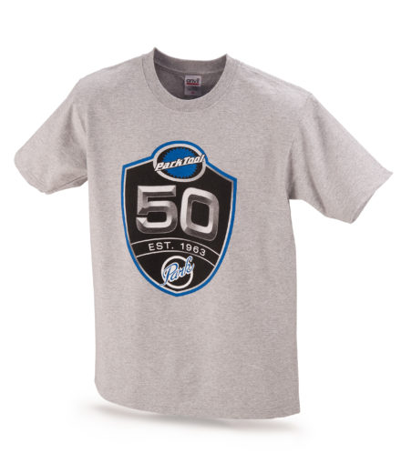Light gray Park Tool 50th anniversary t-shirt, click to enlarge