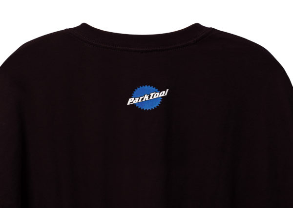 Back of black Park Tool t-shirt with small logo by neck, click to enlarge