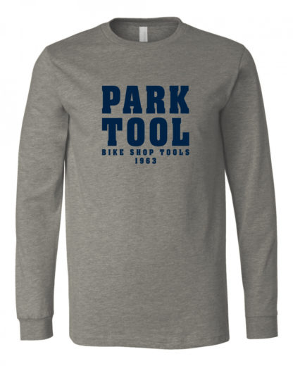 "Heather gray long sleeve shirt with ""Park Tool"" on the front in blocky navy blue letters, click to enlarge"