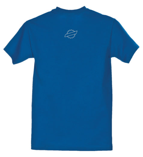 Front of blue Park Tool logo t-shirt with small logo at neck, click to enlarge