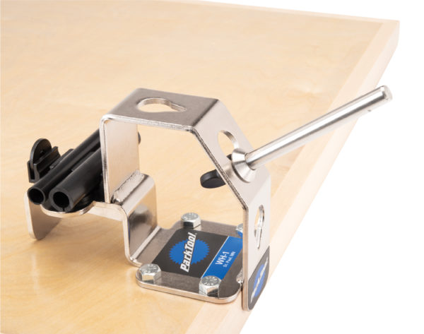 Park Tool WH-1 Wheel Holder permanently installed on workbench, click to enlarge