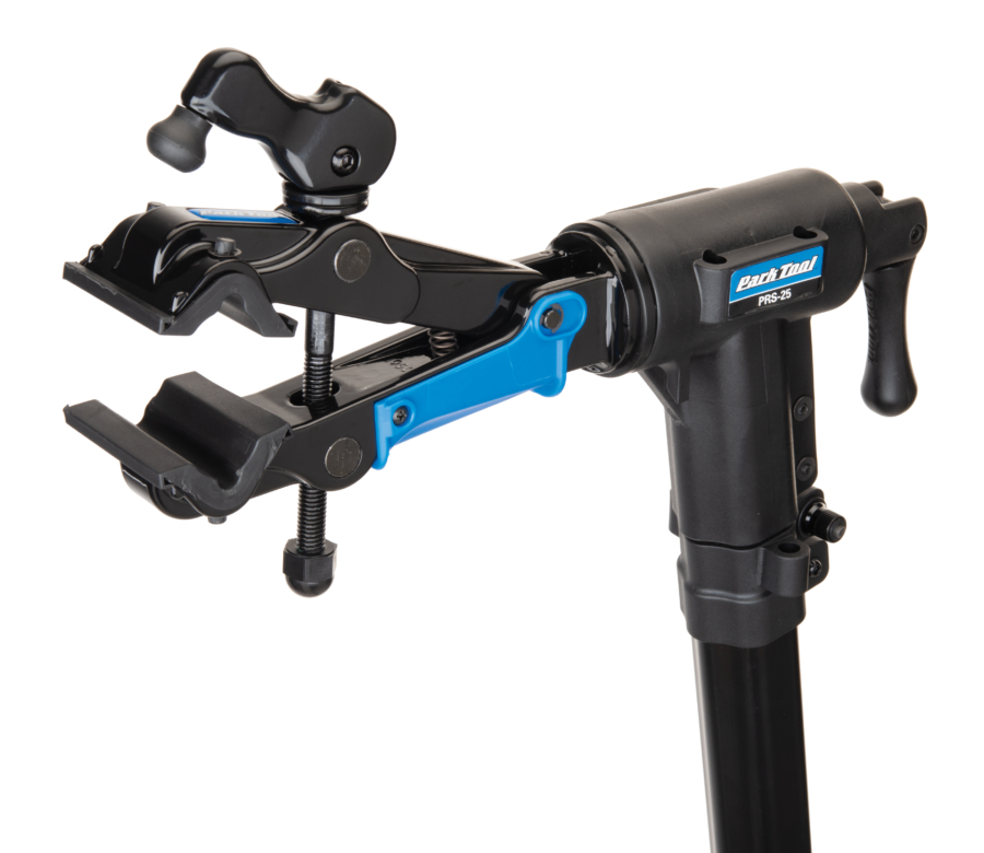 The Park Tool 100-25D Professional Micro-Adjust Clamp attached to repair stand with cam released, enlarged