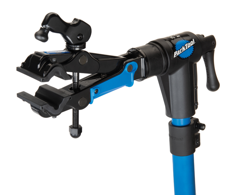 The Park Tool 100-5D Professional Micro-Adjust Clamp attached to repair stand with cam released, enlarged