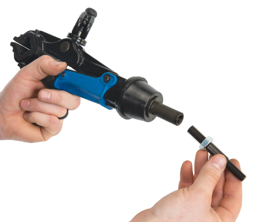 The Park Tool 1951-15 Adaptor Stud for PRS-15 being installed on a 100-25D micro-adjust clamp, enlarged
