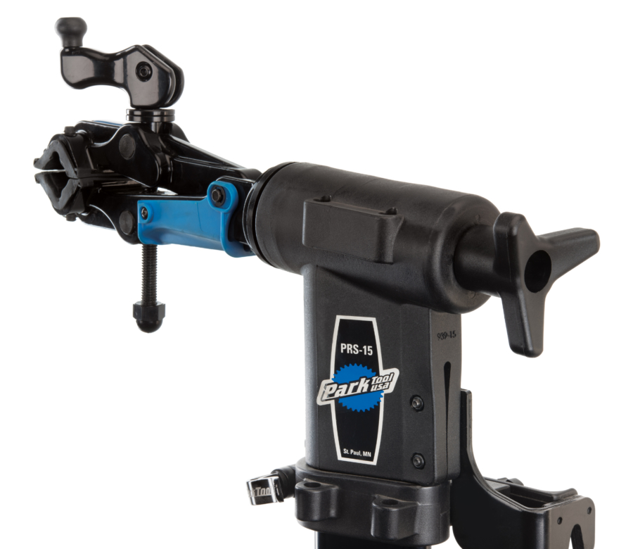 The Park Tool 100-25D micro-adjust clamp fully mounted in a PRS-15 repair stand using 1951-15 adaptor stud, enlarged