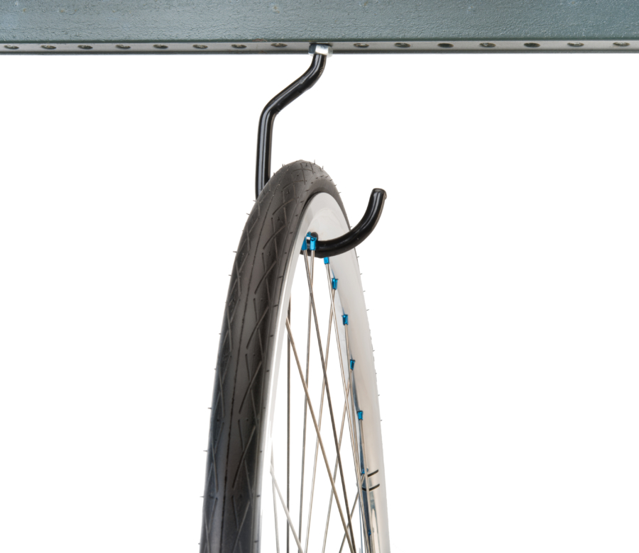Park Tool 450 Machine Thread Storage Hook mounted to metal bar holding road bike wheel, enlarged