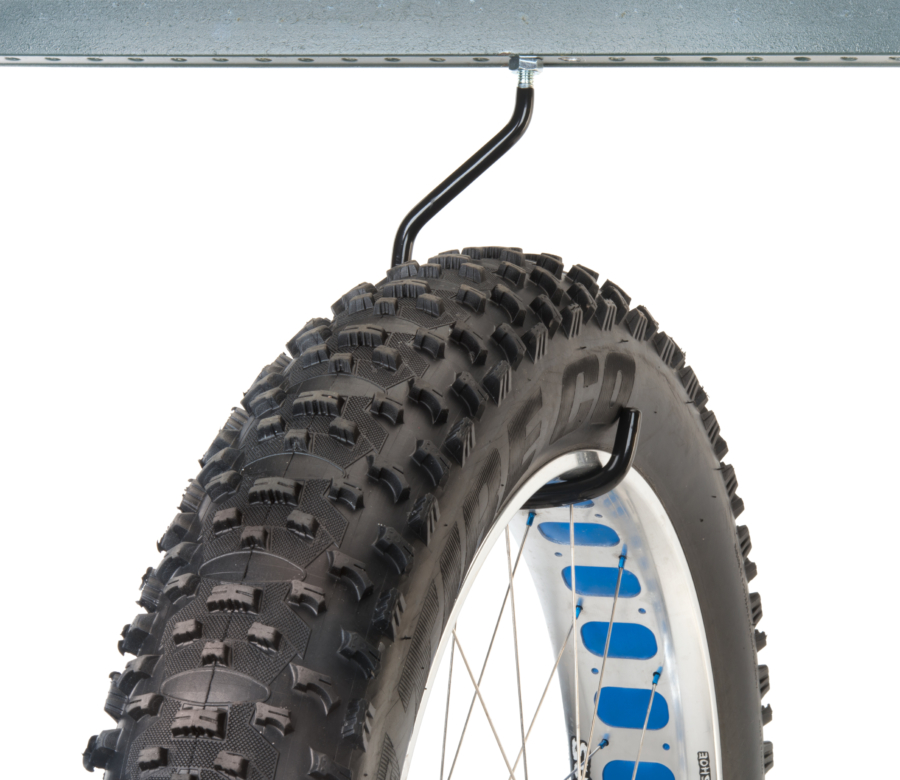 Park Tool 470 Machine Thread Extra-Large Storage Hook mounted to metal bar holding fat bike wheel, enlarged