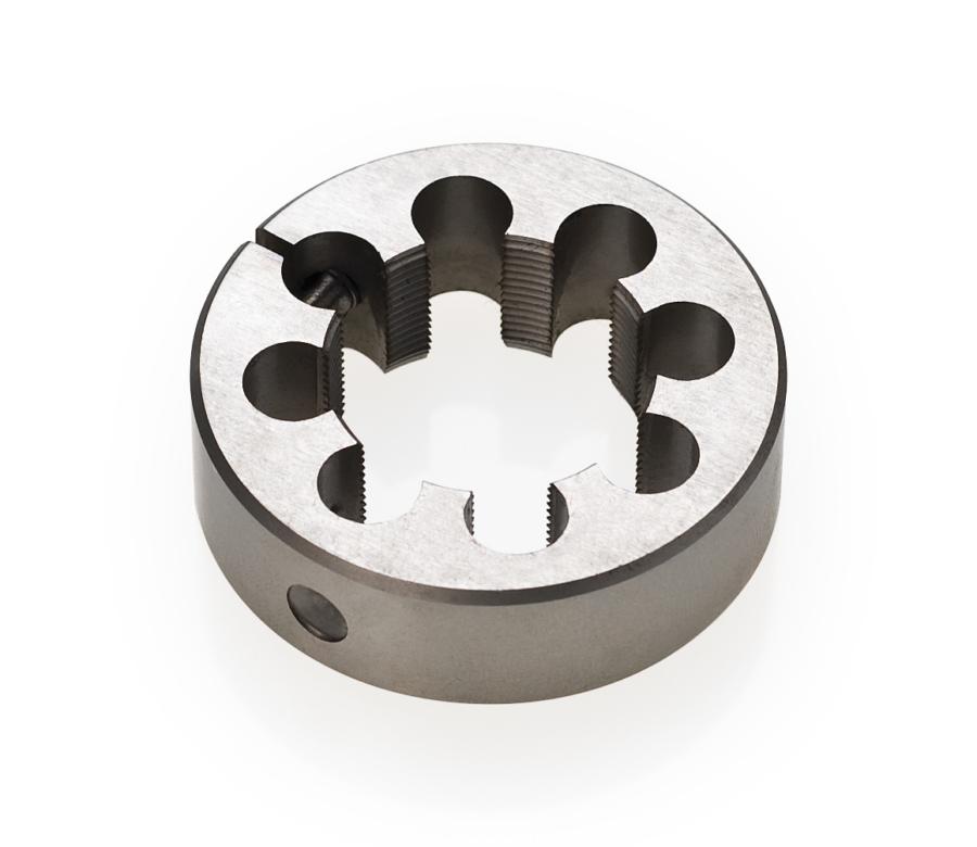 "Black round circle Park Tool 607 1-1/8"" cutting die tool, enlarged"