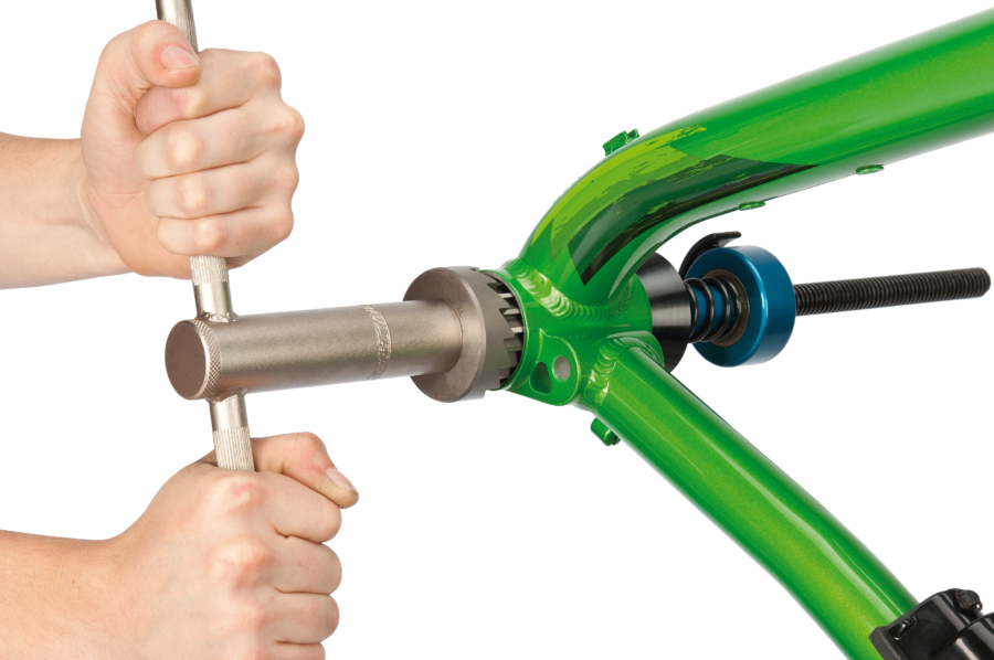 The Park Tool 791 45.94mm Reamer & Pilot Set installed on HTR-1 reaming PF30 bike, enlarged