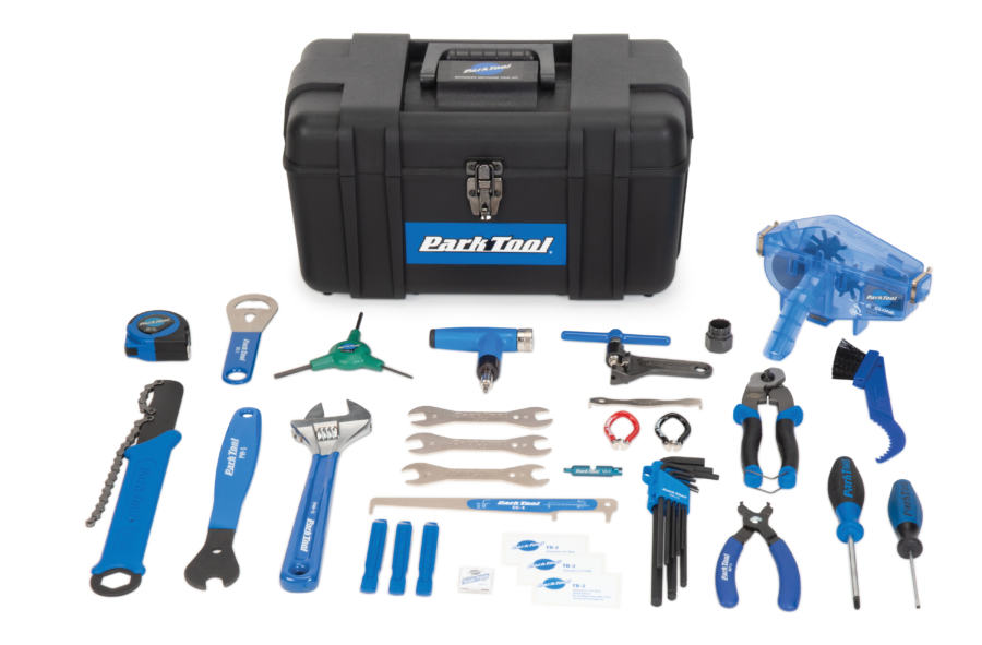 Flat lay of the contents in the AK-4 Park Tool Advanced Mechanic Tool Kit, enlarged