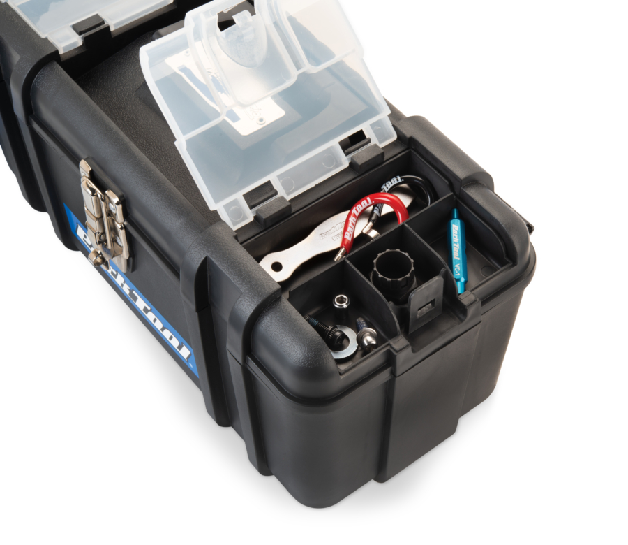 Close-up of storage compartments on Park Tool AK-5 Advanced Mechanic Tool Kit box, enlarged