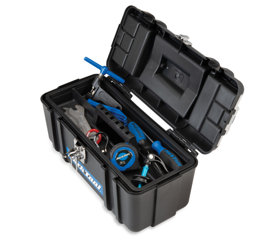 Contents of Park Tool AK-5 Advanced Mechanic Tool Kit inside box with inner tray in place, enlarged