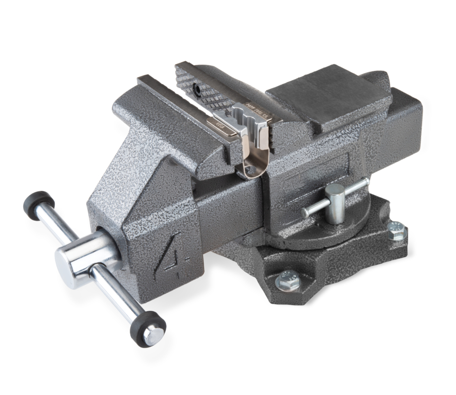 The Park Tool AV-1 Axle Vise installed in a bench vise, enlarged