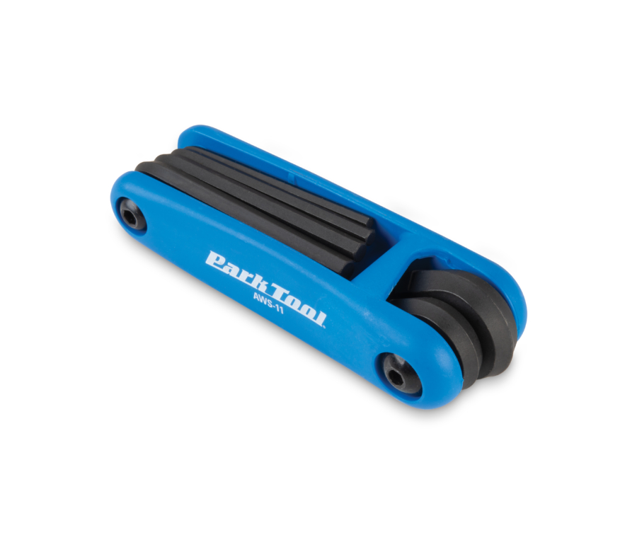 Park Tool AWS-11 Fold-Up Hex Wrench Set with all wrenches folded, enlarged