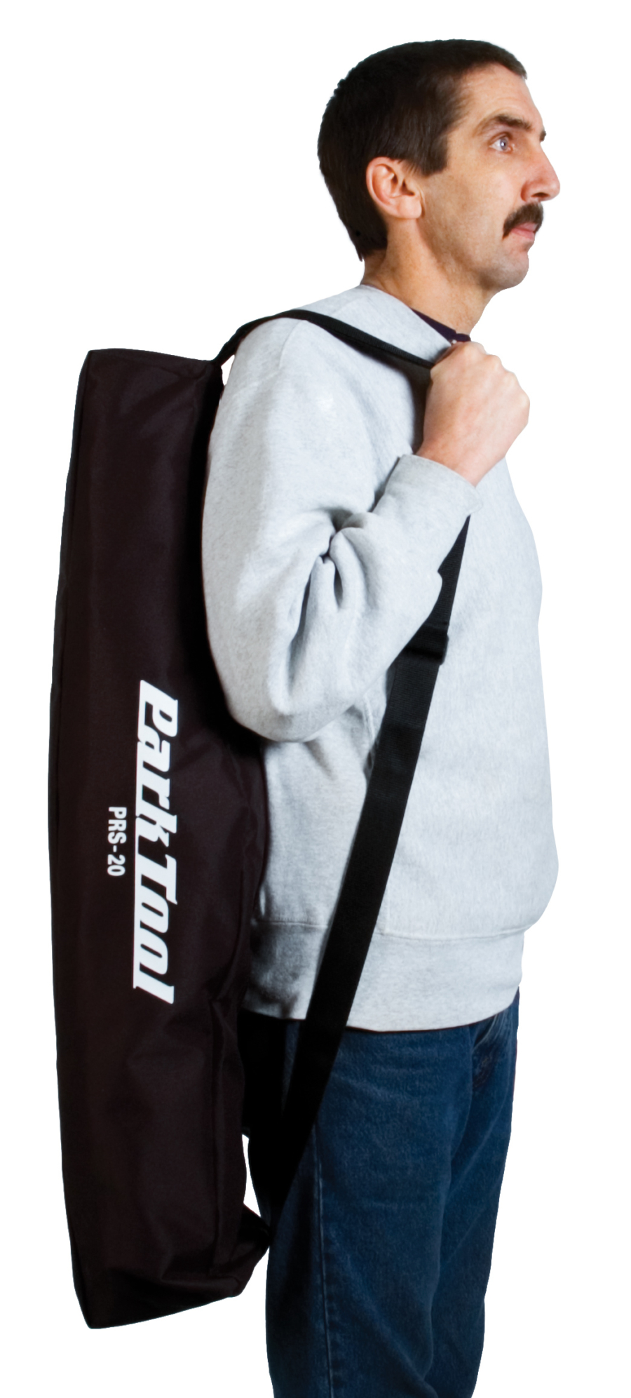 The Park Tool BAG-20, Travel and Storage Bag held on models back, enlarged
