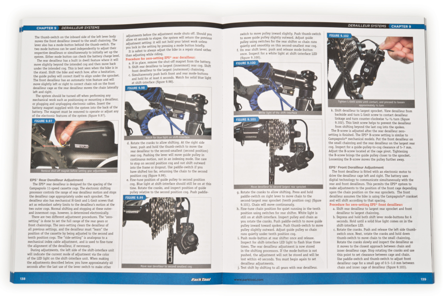 Inside page of the Park Tool BBB-3 Big Blue Book of Bicycle Repair — 3rd Edition, enlarged