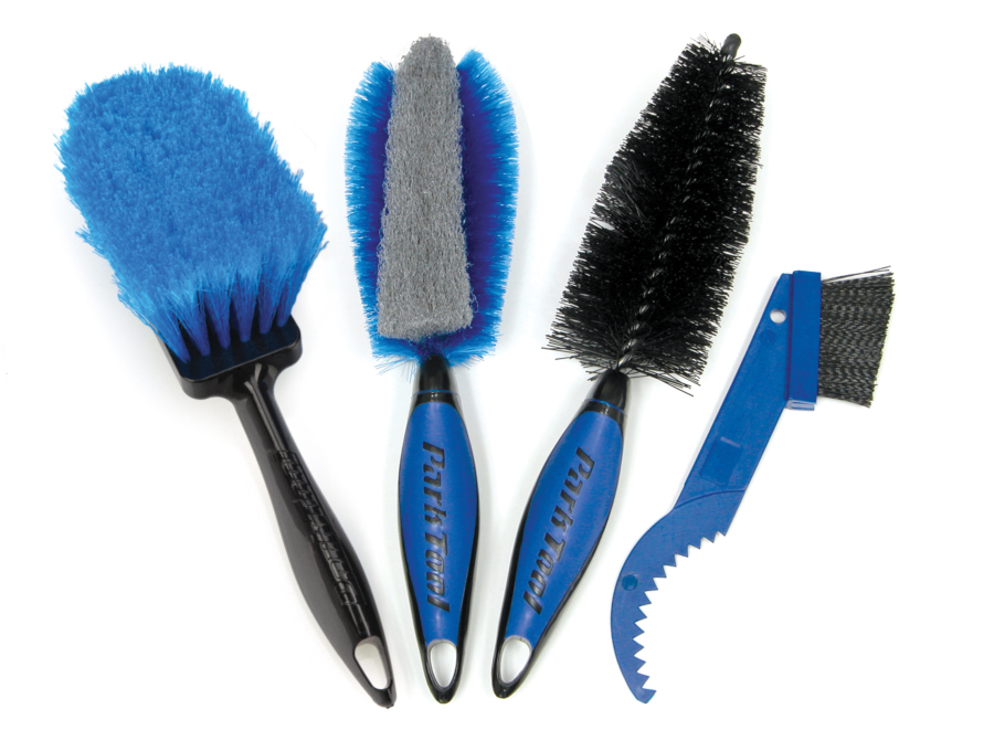 The four pieces of the Park Tool BCB-4.2 Bike Cleaning Brush Set, enlarged