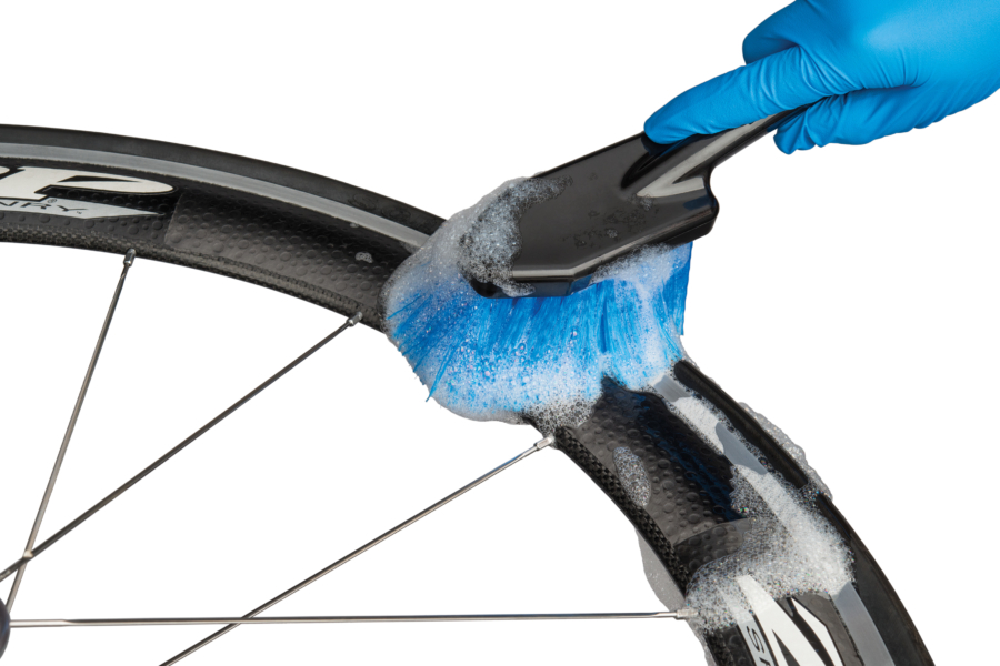 Soft soaping brush from Park Tool BCB-4.2 Bike Cleaning Brush Set cleaning carbon fiber aero rim, enlarged