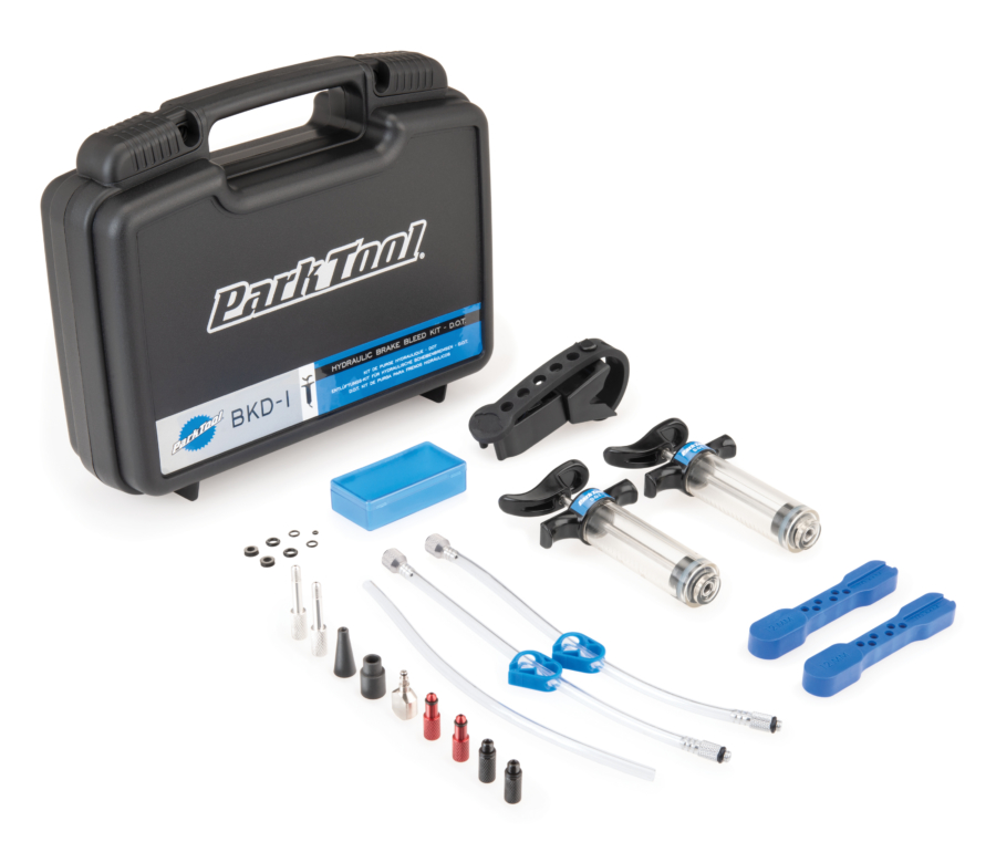 Contents of the Park Tool BKD-1 Hydraulic Brake Bleed Kit-dot displayed out in front of tool box, enlarged