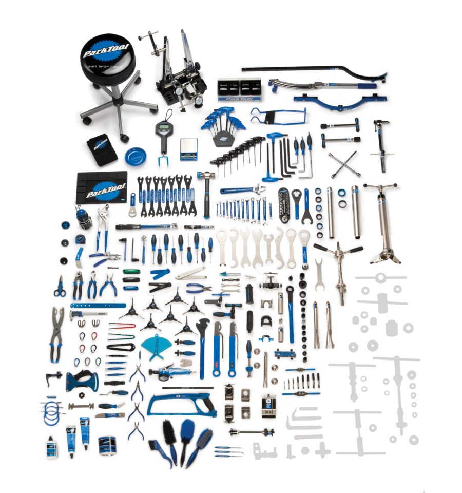 Contents in the BMK-232 Park Tool Base Master Tool Kit, enlarged