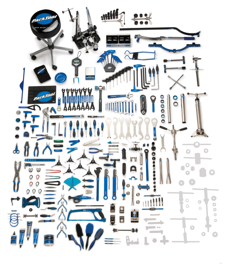Contents in the BMK-243 Park Tool Base Master Tool Kit, enlarged