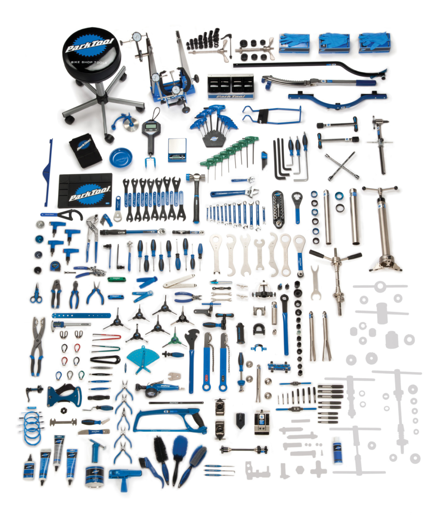 Contents in the BMK-254 Park Tool Base Master Tool Kit, enlarged