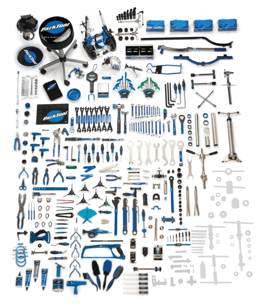 Contents in the BMK-275 Park Tool Base Master Tool Kit, enlarged