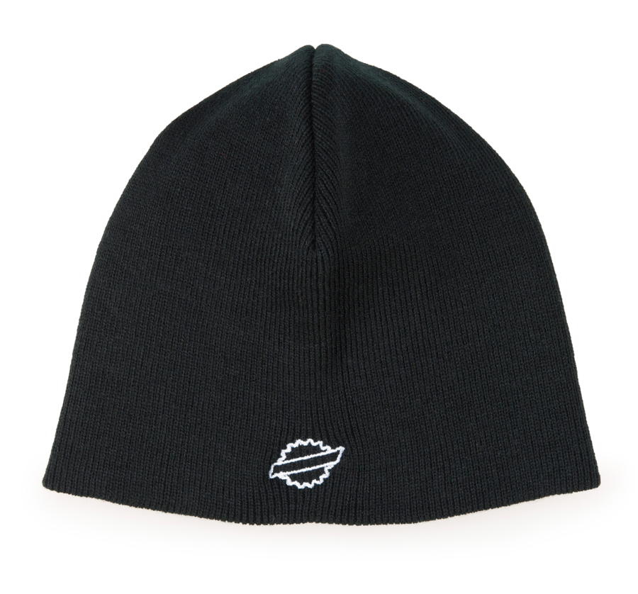 Front of the Park Tool BN-1 Black beanie hat with white outline of Park Tool logo, enlarged