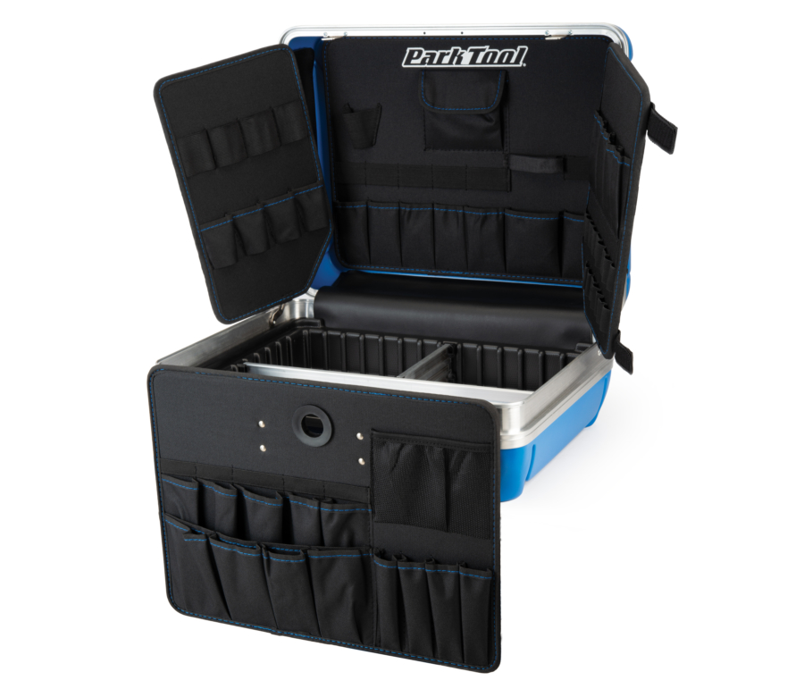 Park Tool Bx-2.2 Blue Box Tool Case open with case in front, enlarged
