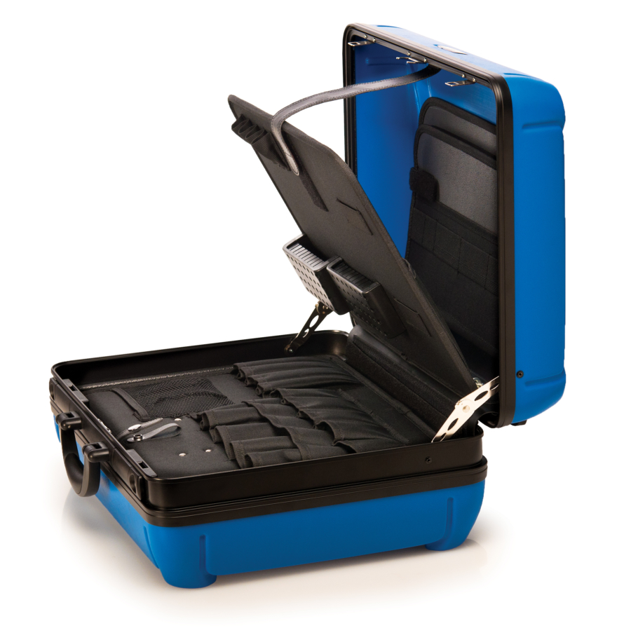The Park Tool BX-2 Blue Box Tool Case opened up, enlarged