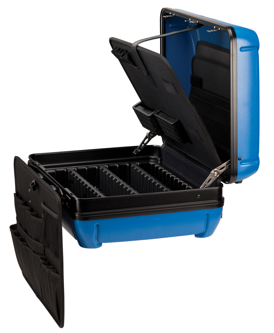 The Park Tool BX-2 Blue Box Tool Case opened up and unfolded, enlarged