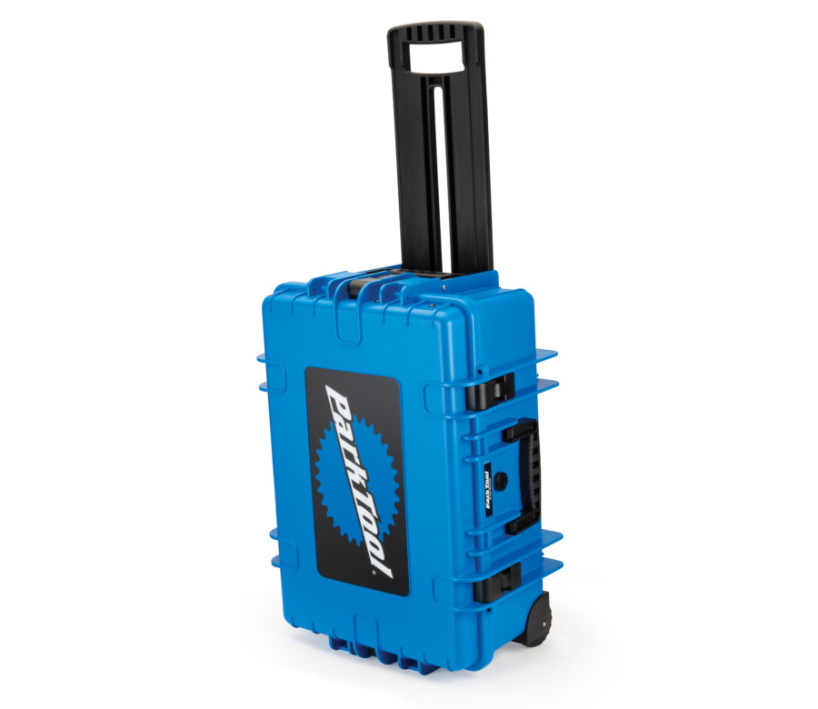 Park Tool BX-3 Rolling Big Blue Box closed and standing on wheels with handle, enlarged
