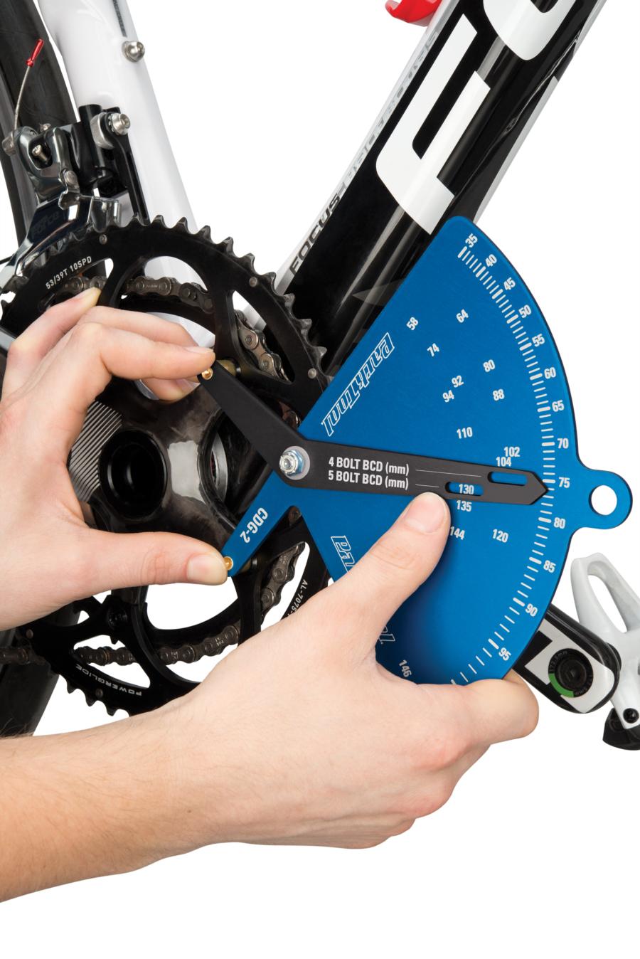 The Park Tool CDG-2 Chainring Diameter Gauge measuring BCD of SRAM® crank, enlarged
