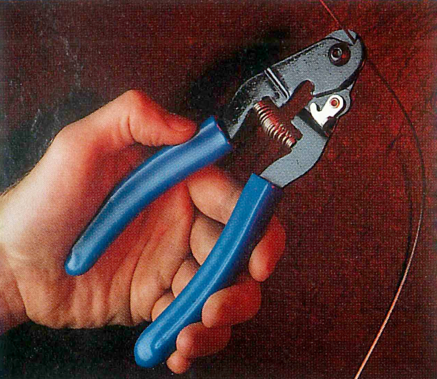 CN-2 Cable and Housing Cutter cutting a cable, enlarged