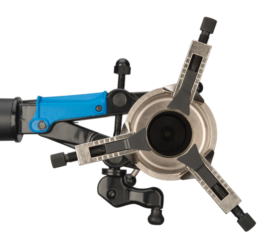 Bird's eye view of the Park Tool CRP-2 Adjustable Crown Race Puller installed in shop clamp, enlarged