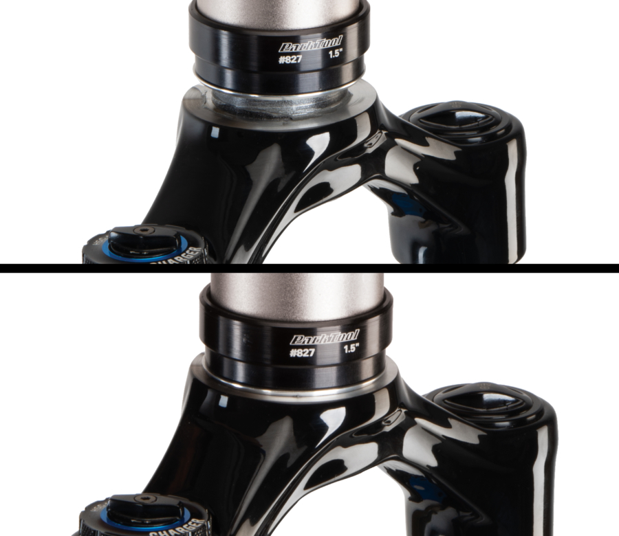 Crown race before and after being installed onto fork using the Park Tool CRS-15.2 Crown Race Setting System, enlarged