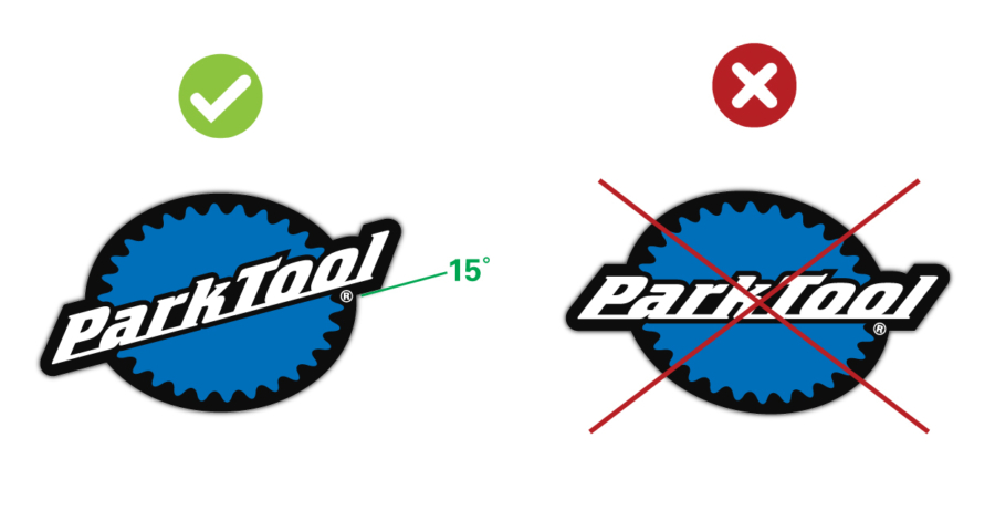 Diagram showing the correct logo placement for the Park Tool stacked logo, enlarged