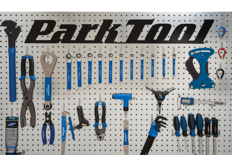 White pegboard with Park Tools displayed and the DL-36 in black at top, enlarged