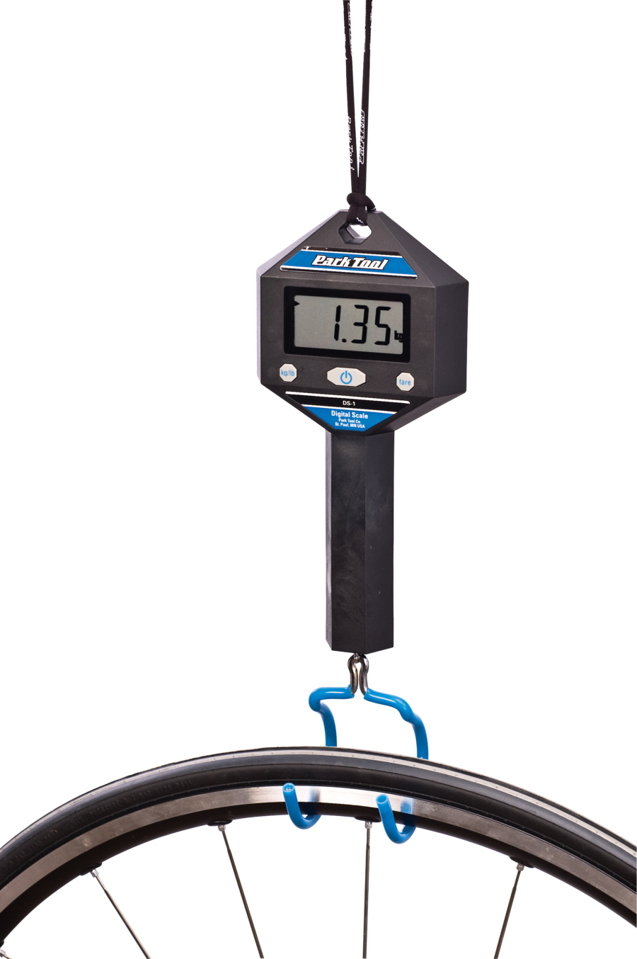 The Park Tool DS-1 Digital Scale holding bike wheel, enlarged