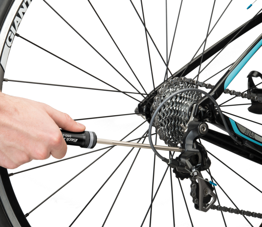 The Park Tool DSD-2 Derailleur Screwdriver adjusting limit screw on rear derailleur, enlarged